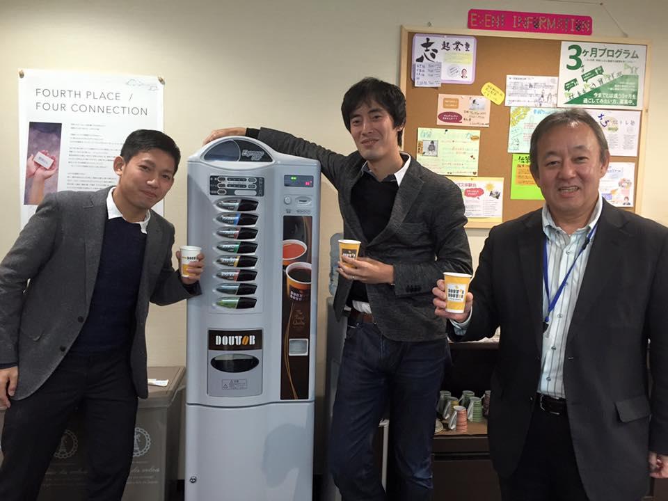 山村社長と寺本マネージャーが、勉強カフェ 岡山スタジオに来店